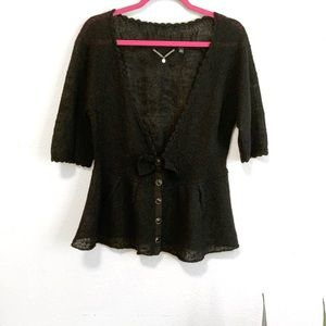 Anthro Knitted & Knotted Black Bow Mohair Cardigan